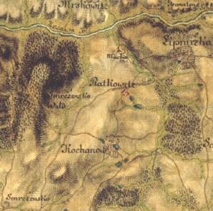 Kochánov a jeho okolí na mapě Josefova vojenského mapování